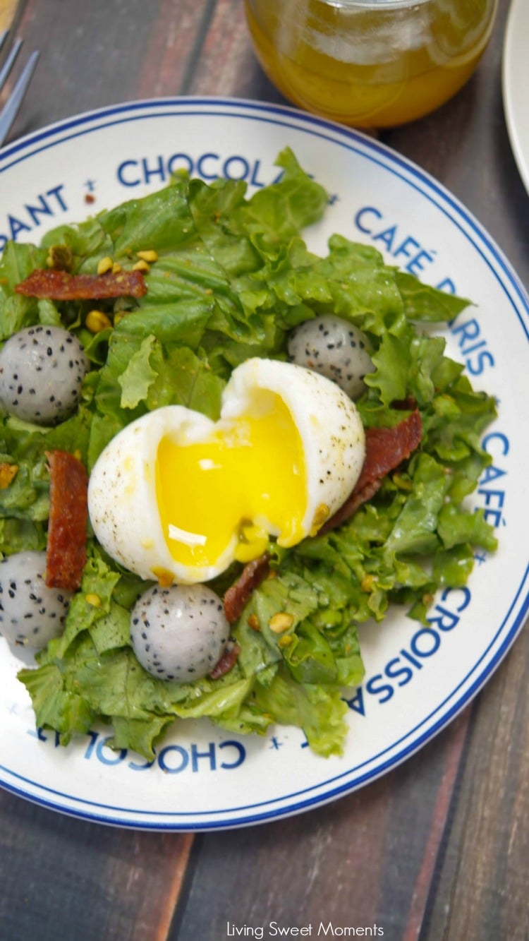 This amazing French Lyonnaise Salad Recipe is easy to make & delicious. Enjoy greens, bacon & fruit tossed with a mustard vinaigrette & a soft boiled egg.