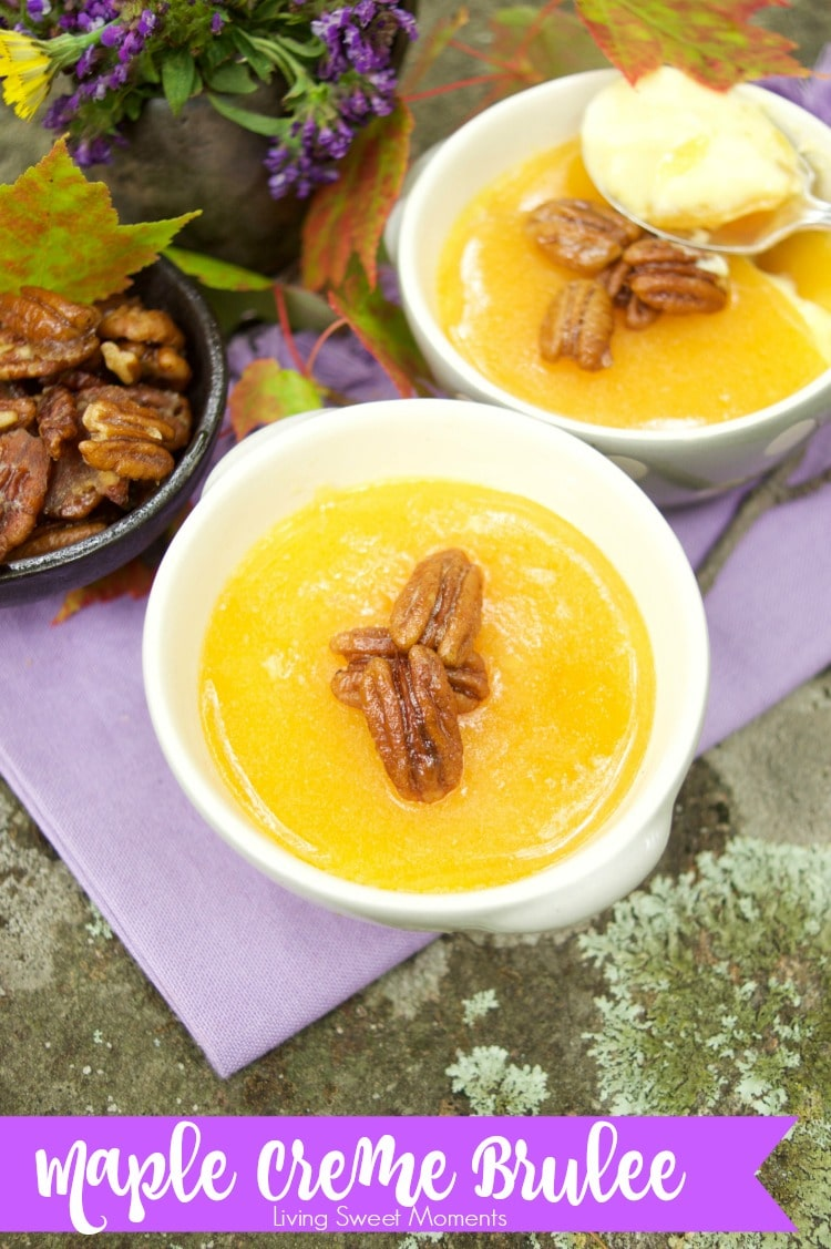 This delicious Maple Creme Brûlée recipe only requires 5 ingredients and is served with candied pecans for extra flavor and crunch. A perfect fancy dessert.