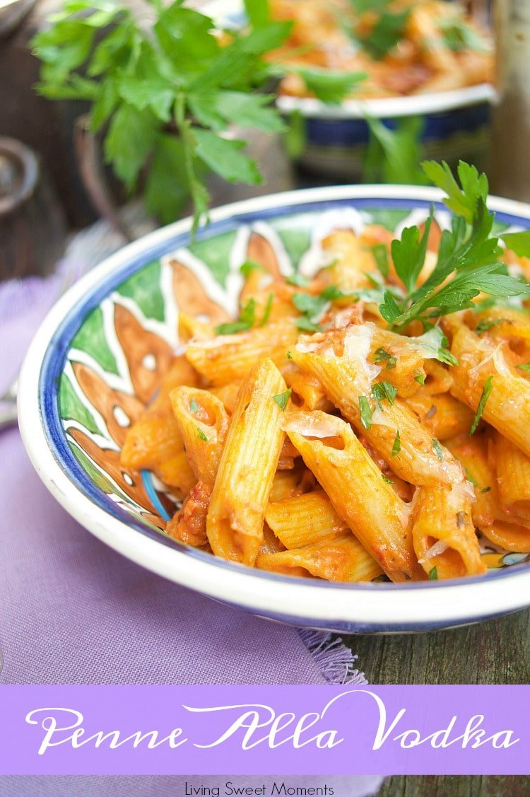 This easy and delicious Penne Alla Vodka recipe is ready in 20 minutes or less and is the perfect quick weeknight dinner idea for the family. Vegetarian too