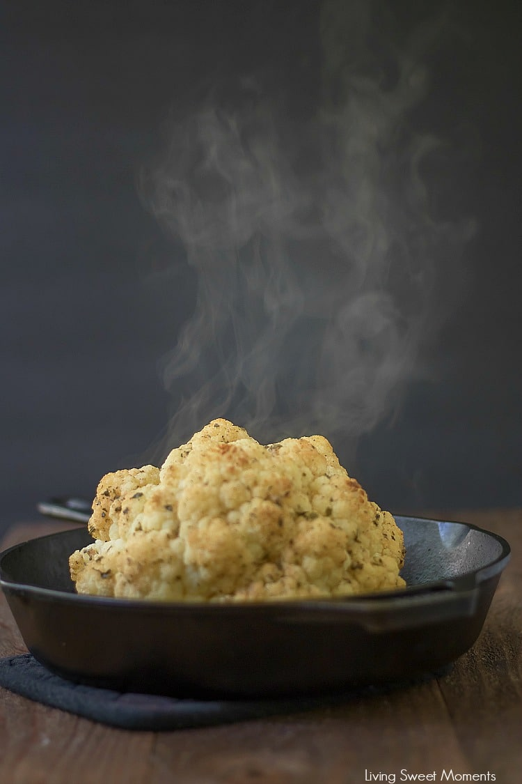 This delicious Ranch Whole Roasted Cauliflower recipe has only 3 ingredients and is super easy to make. The perfect low-carb side dish for lunch or dinner.