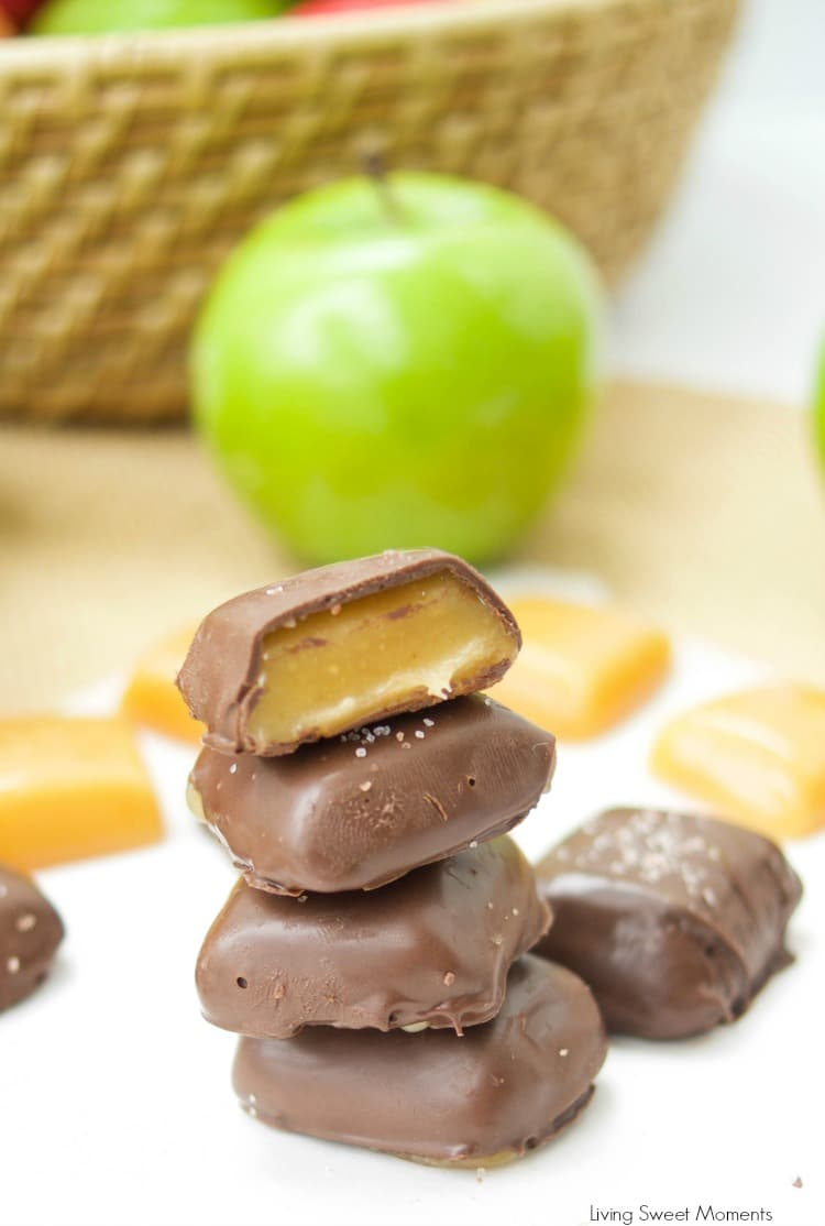 This chocolate covered Apple Cider Caramels recipe is easy to make. The perfect fancy dessert for fall. Made with reduced apple cider for a deeper taste.