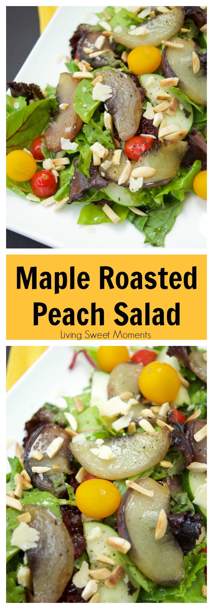 This tasty maple Roasted Peach Salad recipe is served with greens, tomatoes, almonds, parmesan and almonds, then tossed with a tangy maple vinaigrette.