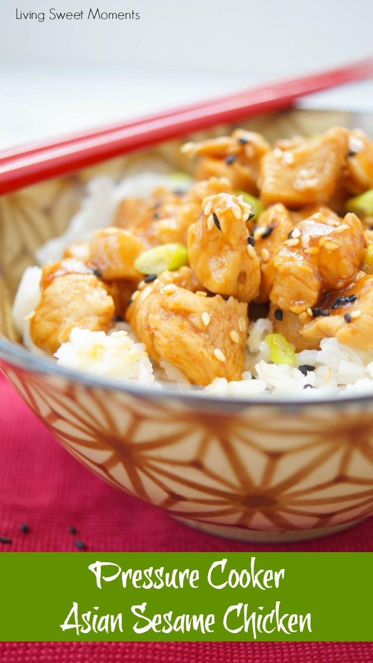This delicious Asian Sesame Instant Pot Chicken recipe is made in the pressure cooker for only 5 minutes. Perfect for a quick weeknight dinner idea.