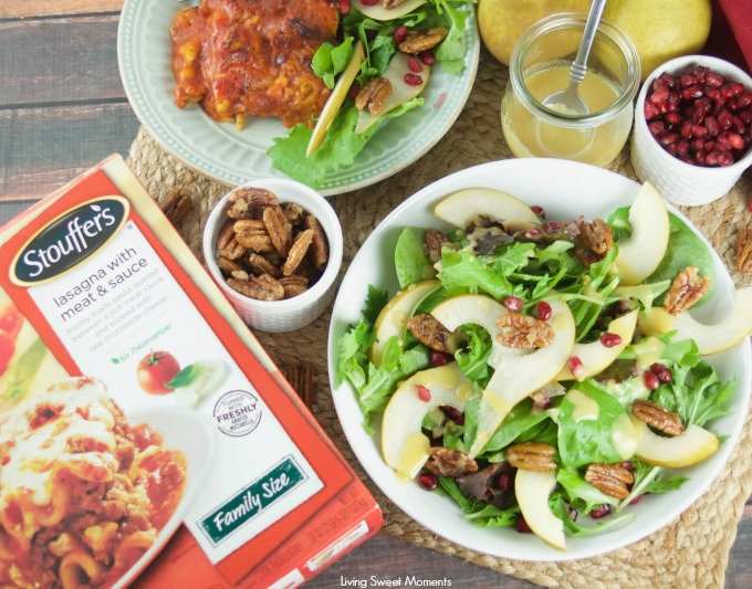 This tasty pomegranate Pear Salad is served with candied pecans and drizzled with a mustard dressing. The perfect autumn quick salad to serve with dinner.