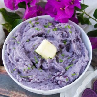 Delicious Blue Mashed Potatoes