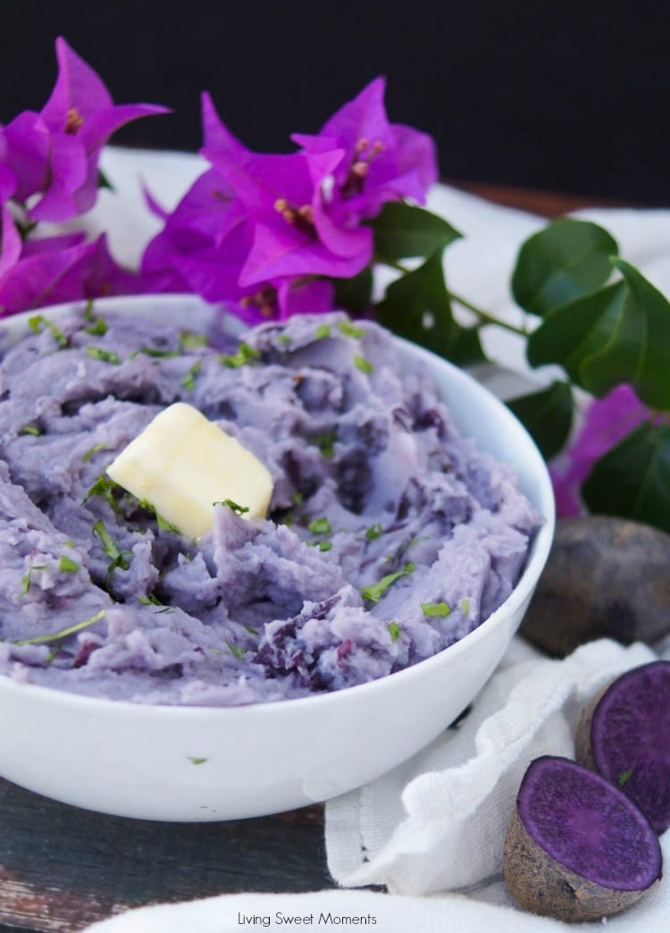 These beautiful blue mashed potatoes feature amazing color with the same texture and taste you enjoy in your favorite potatoes. A cool & unique side dish