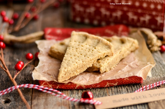 These crumbly Holiday Spiced Shortbread Cookies are super delicious and easy to make. Cut into wedges, they are perfect for dessert or to dip in your coffee
