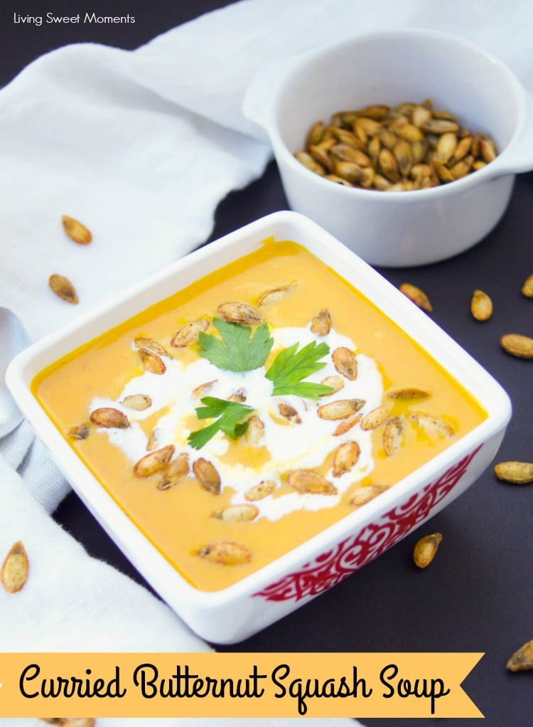 This vegan creamy Curried Butternut Squash Soup is made with ginger, coconut milk, and cooked in the Instant Pot to get comfort food in 20 min or less!