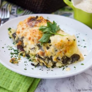 This delicious Ravioli Lasagna recipe is made with frozen ravioli, homemade Alfredo sauce, cheese and fresh spinach. The perfect quick weeknight dinner idea