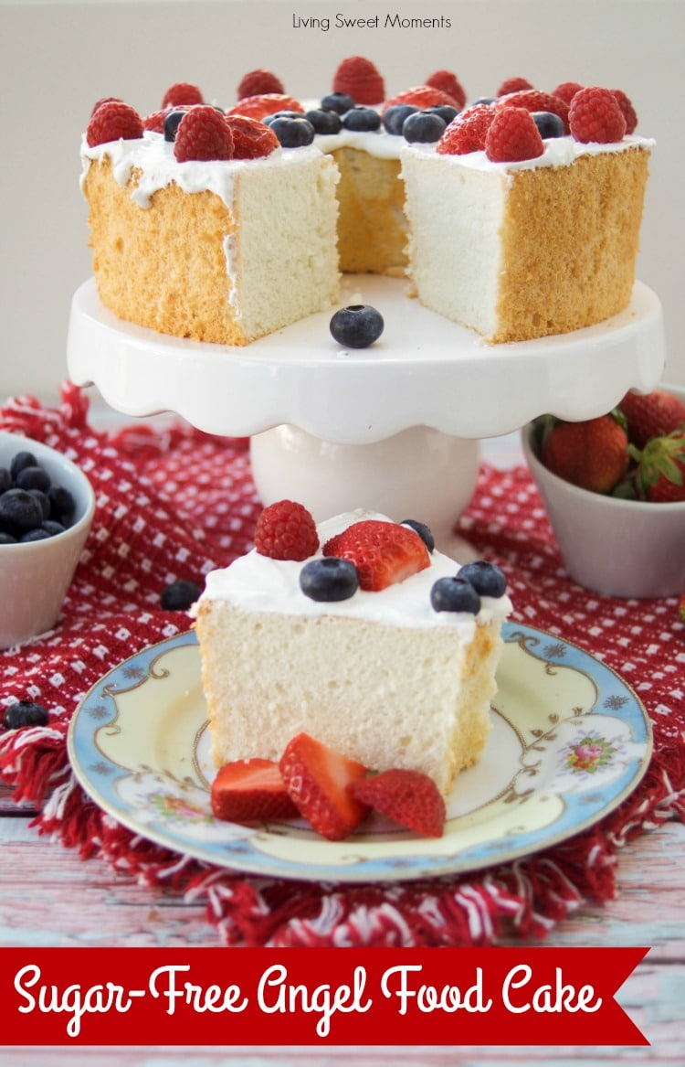This delicious Sugar Free Angel Food Cake recipe is super easy to make, low carb, and perfect for diabetics. An incredible sugar free dessert.