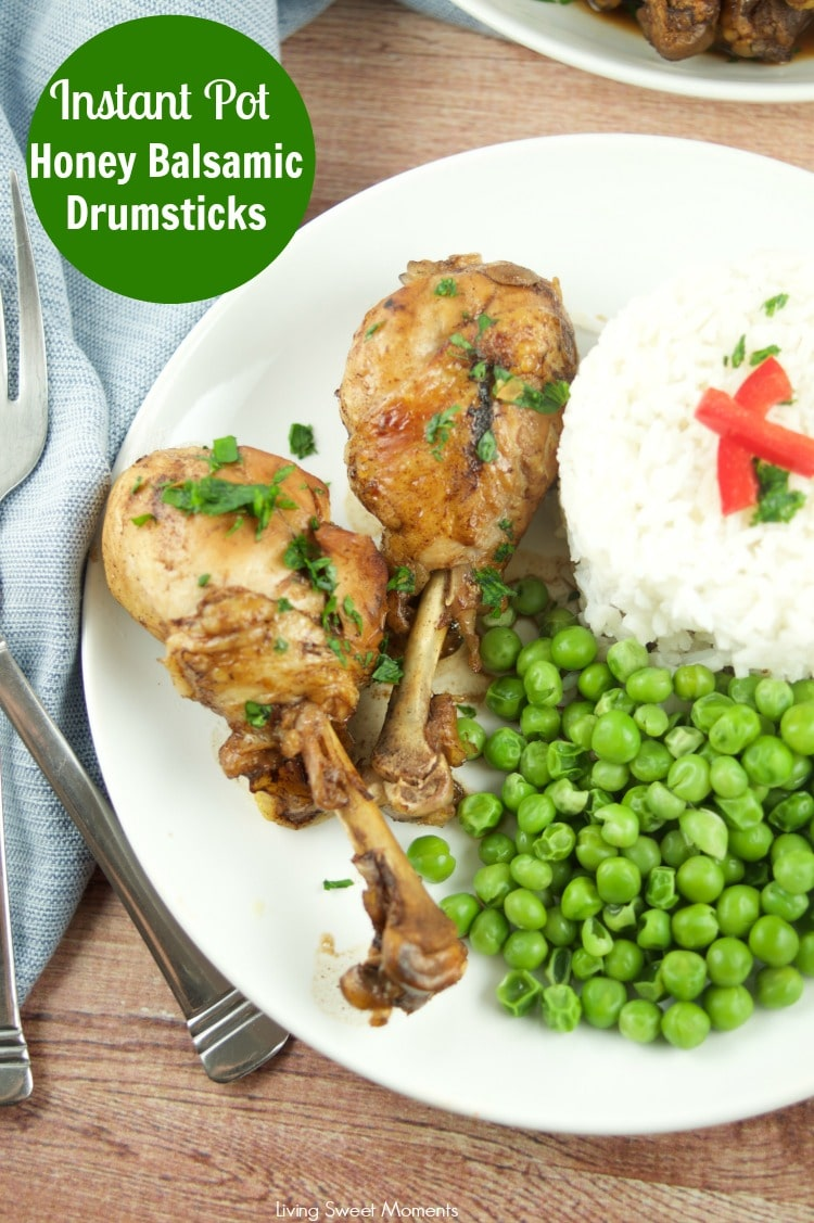 These succulent Instant Pot Honey Balsamic Drumsticks require only 5 ingredients and are ready in 20 minutes or less, for an easy quick weeknight dinner