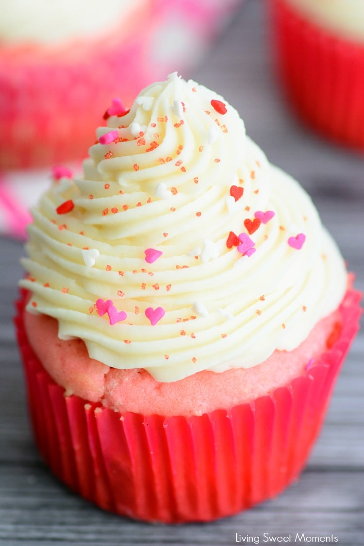These made from scratch Pink Velvet Cupcakes are so easy, moist & delicious. Topped with rich cream cheese frosting. Perfect for dessert or valentine's day