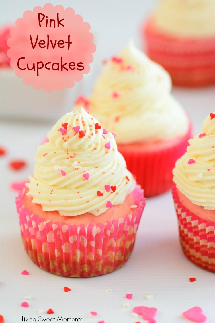 These made from scratch Pink Velvet Cupcakes are so easy, moist and delicious. The perfect Valentine's day recipe. They're also great for a princess party.