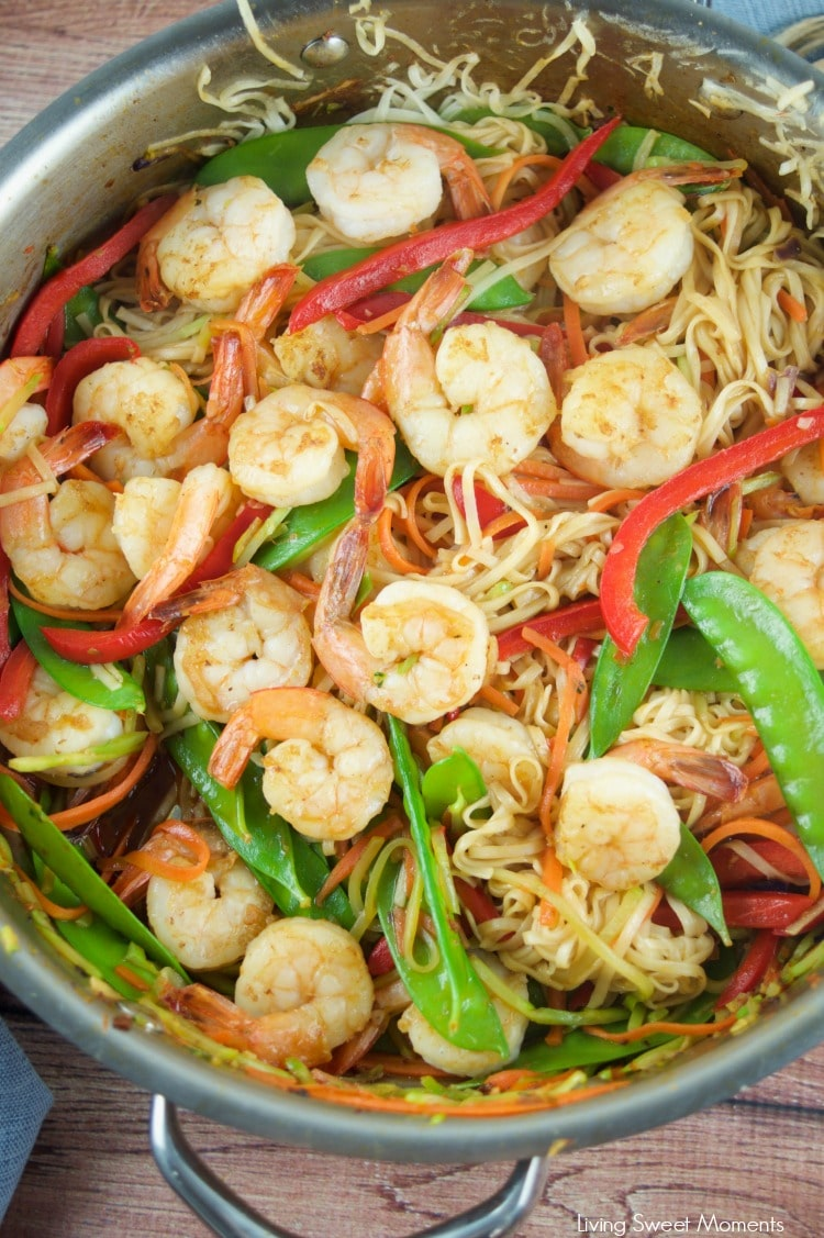 This tasty 15 Minute Shrimp Lo Mein recipe is super easy to make and requires few ingredients. The perfect quick weeknight dinner with an Asian twist.