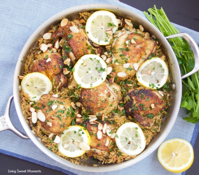 This delicious One Pot Chicken And Rice recipe is seasoned with za'atar and topped with lemon, almonds, and parsley. A delicious quick dinner idea.