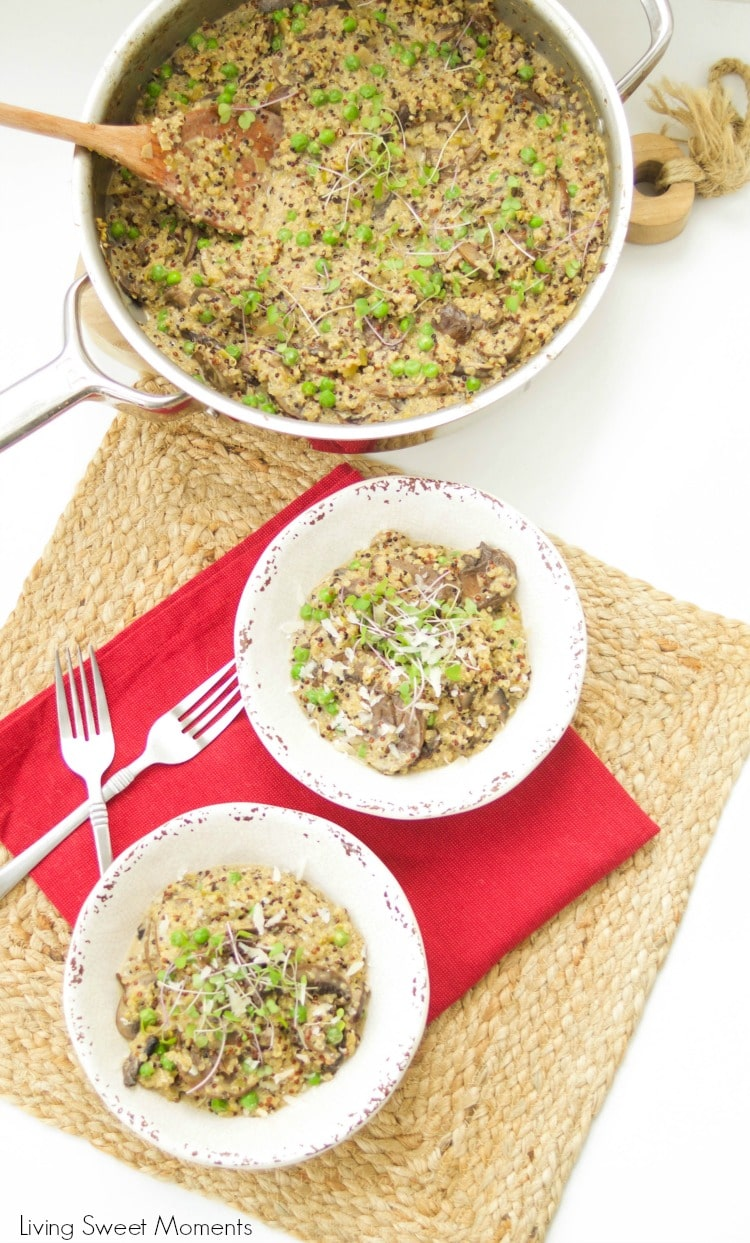 This amazing and creamy wild mushroom quinoa risotto recipe is super easy, vegetarian and is made with leeks & green peas for great color & flavor.