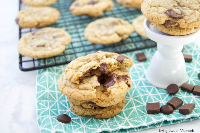These amazing chewy Brown Butter Chocolate Chip Cookies have tons of butterscotch flavor, chocolate chunks and sea salt on top. The best cookie recipe ever! 5