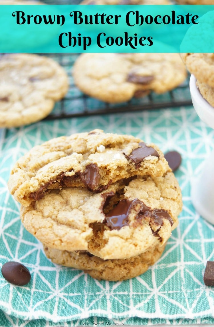 These amazing chewy Brown Butter Chocolate Chip Cookies have tons of butterscotch flavor, chocolate chunks and sea salt on top. The best cookie recipe ever! 7