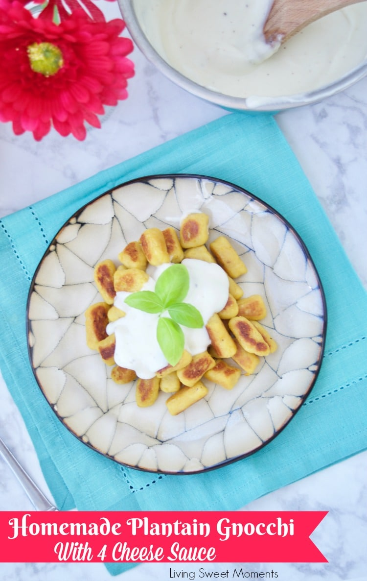 Delicious savory homemade plantain gnocchi is served with an amazing four cheese sauce. Perfect as a vegetarian entree for parties or celebrations.