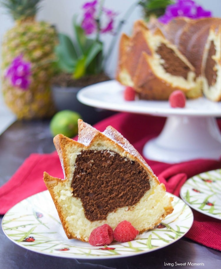 This moist Vanilla Chocolate Bundt Cake recipe is super easy to make, delicious, and perfect as a dessert, breakfast or snack. Serve with a glass of milk 3