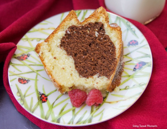 This moist Vanilla Chocolate Bundt Cake recipe is super easy to make, delicious, and perfect as a dessert, breakfast or snack. Serve with a glass of milk. 2