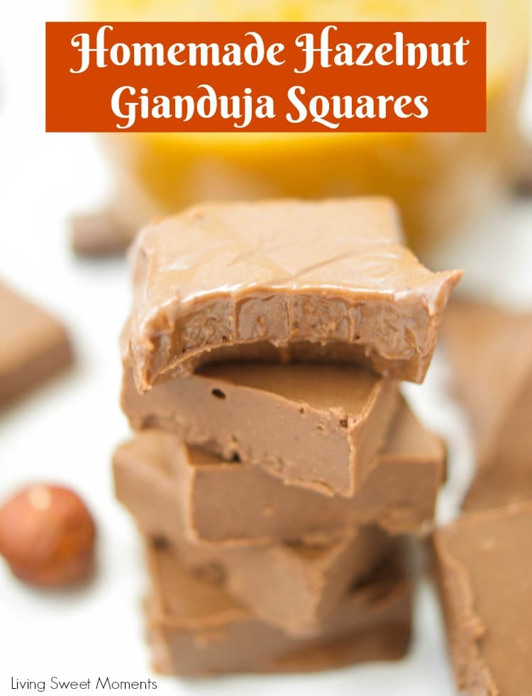 Melt in your mouth Homemade Hazelnut Gianduja Squares are made w/ tempered chocolate & praline paste. Enjoy these confections at home with this easy recipe