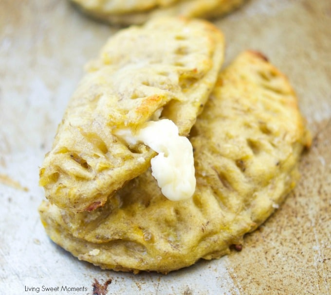 This amazing latin baked plantain empanadas recipe is filled with oozy cheese and is the perfect finger appetizer to any party or celebration