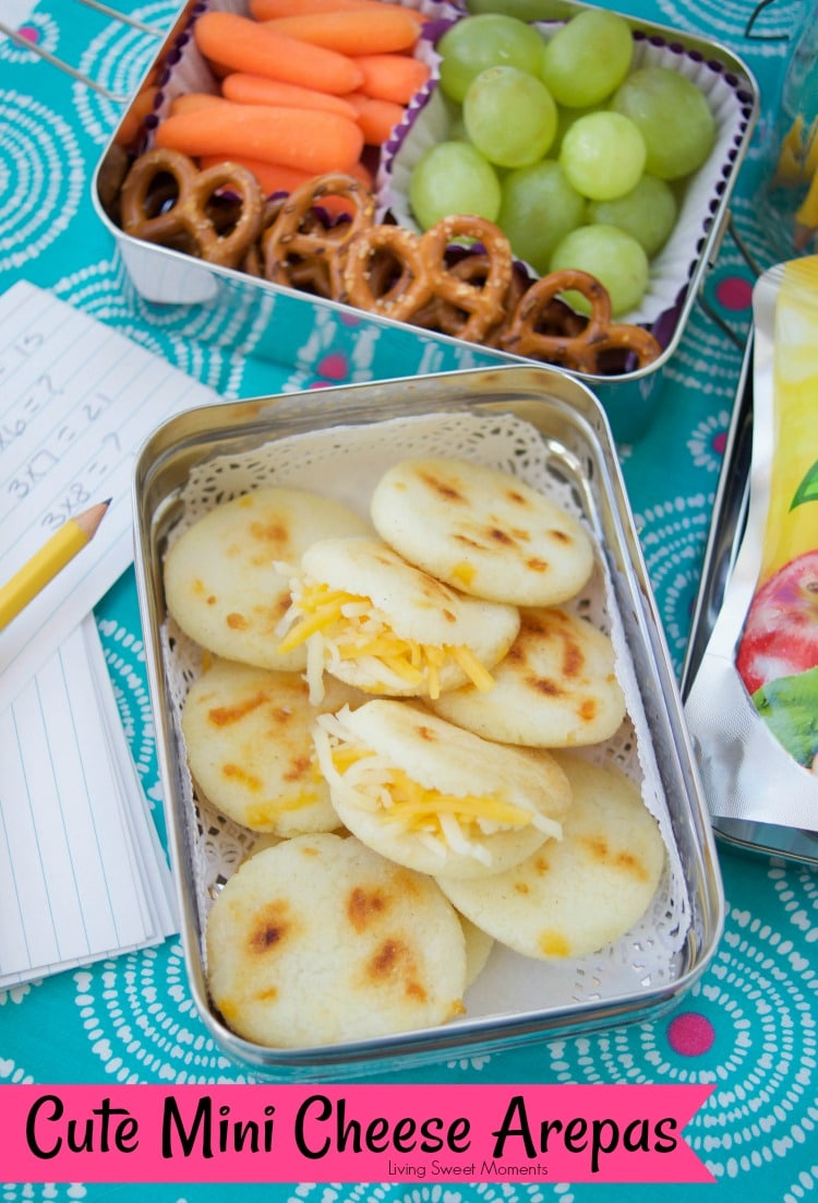 These delicious Gluten free Venezuelan mini arepas are filled with cheese and are perfect for breakfast, the lunchbox and even as an after school snack