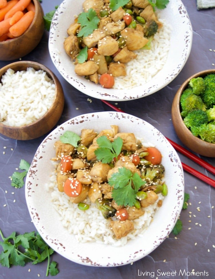 These amazing Chicken Teriyaki Rice Bowls are ready in 20 minutes or less. Enjoy a delicious and healthy weeknight dinner recipe. Made without cornstarch.