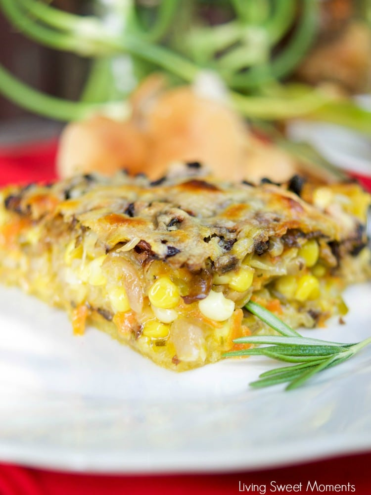 This delicious Summer Vegetable Tart recipe is filled with corn, shallots, mushrooms, creme fraiche and shredded gruyere cheese. A perfect vegetarian entree