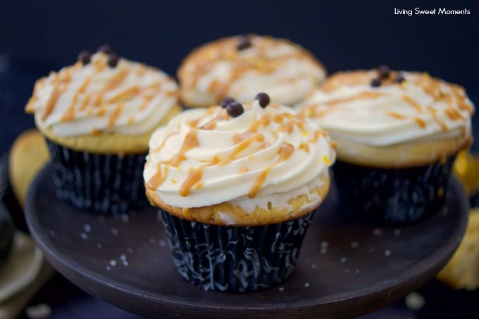 These decadent Salted Caramel Cupcakes are healthier, flourless, & high in protein. Served with creamy frosting and caramel sauce. Dessert without the guilt