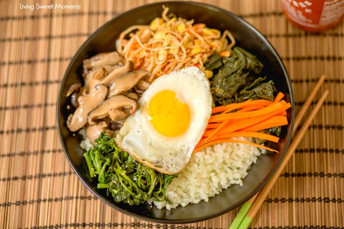 This amazing Korean Cauliflower Bibimbap recipe is delicious, low-carb, keto friendly, and easy to make. The perfect quick vegetarian weeknight dinner idea. Closeup of the bowl with fried egg