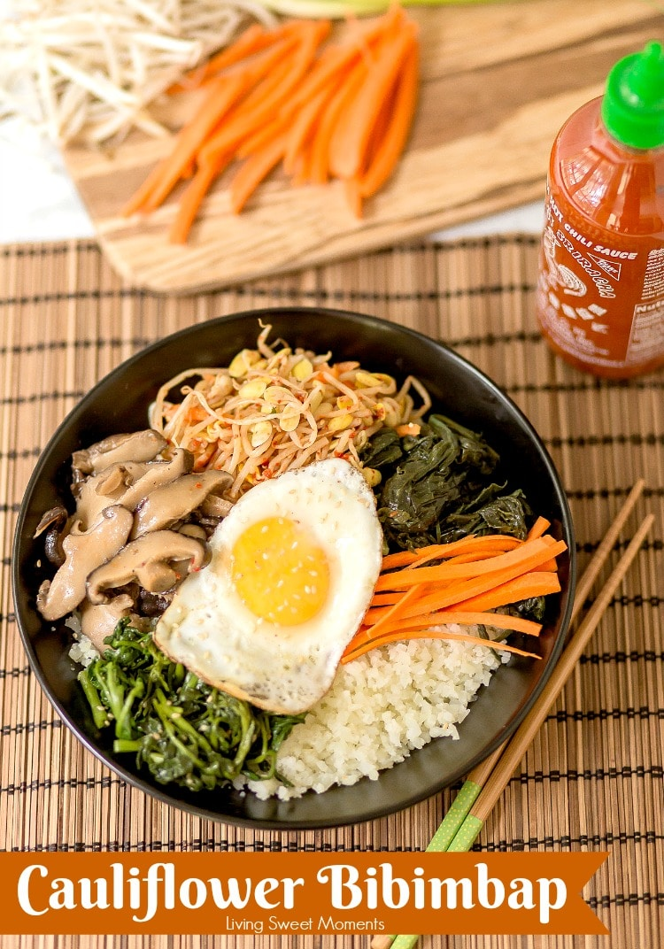 This amazing Korean Cauliflower Bibimbap recipe is delicious, low-carb, keto friendly, and easy to make. The perfect quick vegetarian weeknight dinner idea. Cover recipe with Sriracha bottle