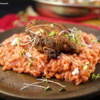 Savory Beet Risotto With Crispy Chicken