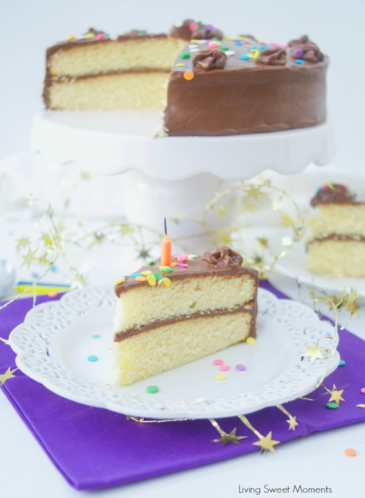 This creamy Chocolate Birthday Cake Icing Recipe is the best one you will ever try! Only requires 3 ingredients and is rich in real chocolate flavor. Complete cake and slice