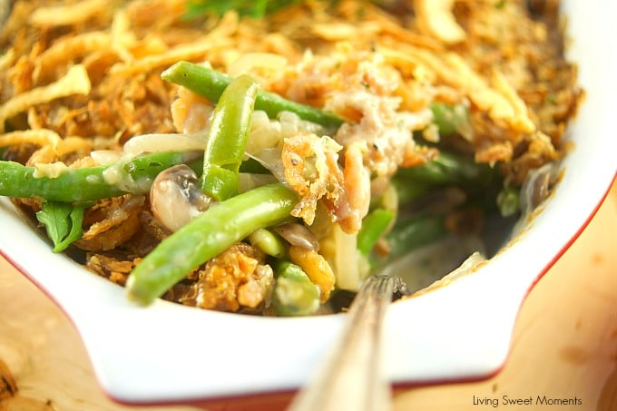 I've fancied up a classic Thanksgiving dish. This creamy Green Bean Casserole From Scratch recipe has lot's of onions, mushrooms, and green beans, & Gruyere. Fresh green beans with the mushrooms and onions