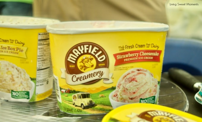 At last! Mayfield Creamery Debuts in South Florida. Mayfield creamery strawberry cheesecake ice cream container