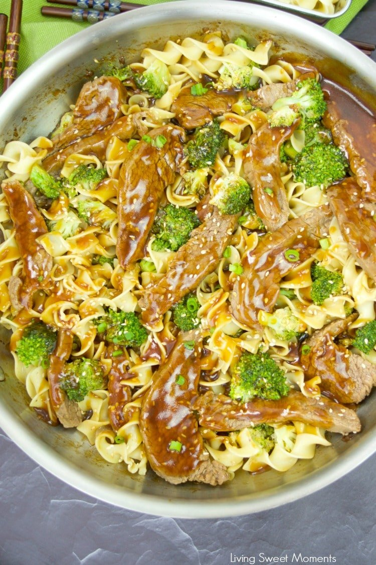 These delicious Beef And Broccoli Noodles are the perfect quick weeknight dinner recipe since they're ready in 20 minutes or less. Kid approved too!