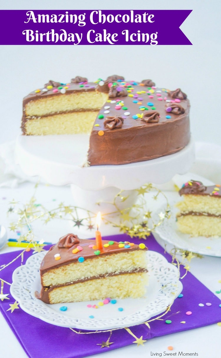 This is the best Chocolate Birthday Cake Icing Recipe  you will every try! only 3 ingredients needed to achieve a creamy chocolate flavor