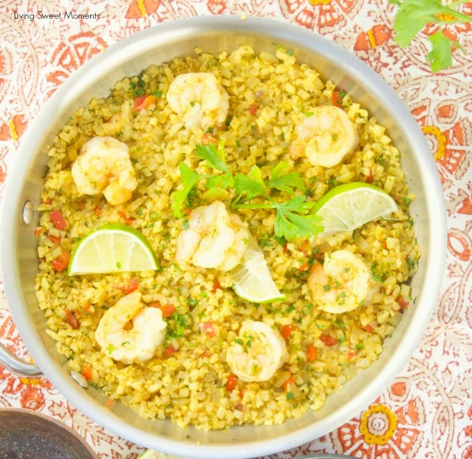 This delicious Curried Riced Cauliflower recipe with shrimp is low carb, paleo and keto friendly. One pot meal showing the skillet with the shrimp