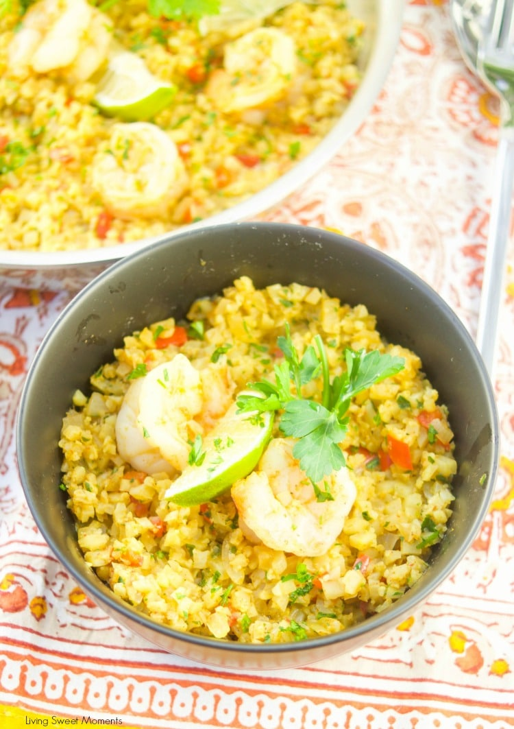 This delicious one pot Curried Riced Cauliflower recipe with shrimp is low carb, paleo and keto friendly. Ready in 20 minutes for a quick weeknight dinner idea.