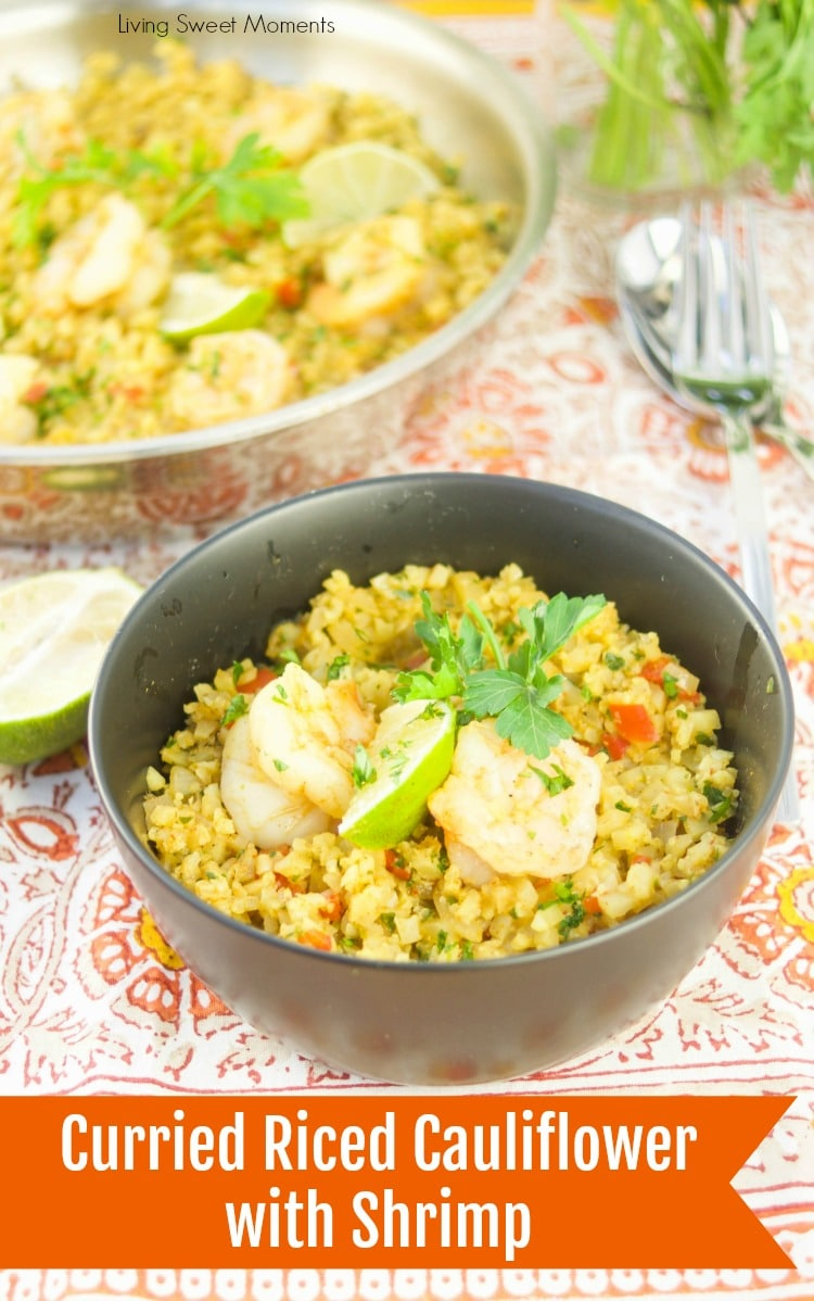 This delicious Curried Riced Cauliflower recipe with shrimp is low carb, paleo and keto friendly. Is a complete one pot meal