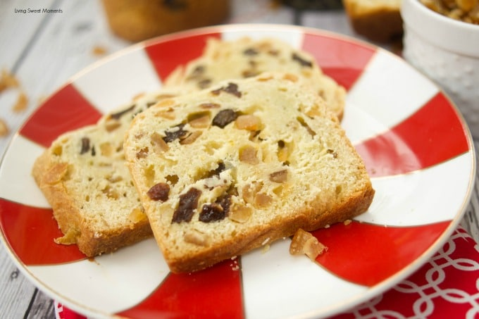 This easy Easy Mini Panettone recipe is delicious, flavorful, and quick to make. Sliced panettone showing the raisin and orange filling