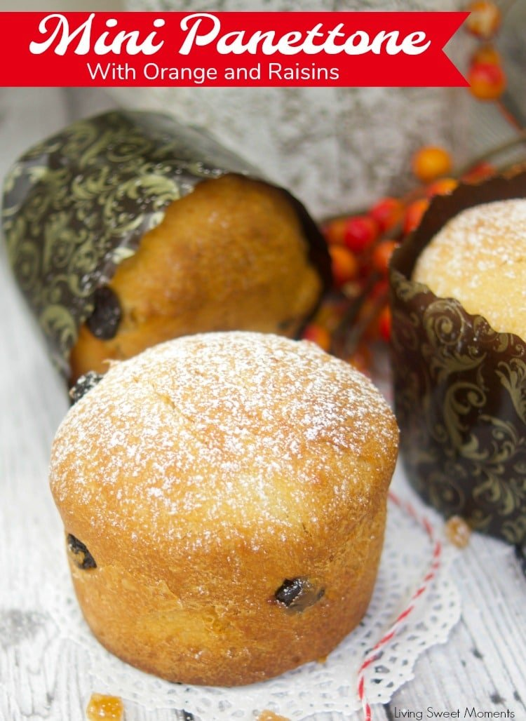 This easy Easy Mini Panettone recipe is delicious, flavorful, and quick to make. Vertical photo showing the mini panettone filled with orange and raisins