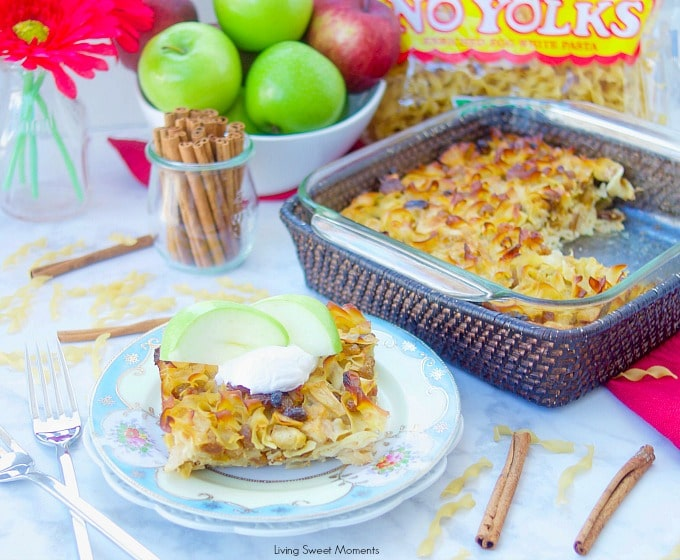 This delicious Apple Noodle Kugel recipe is both sweet and savory. The apples are sauteed with onions raisins and cinnamon. Perfect for the holidays! No Yolk Noodles