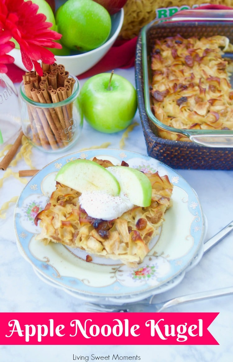 This delicious Apple Noodle Kugel recipe is both sweet and savory. A slice of kugel topped with sour cream, apples, and cinnamon