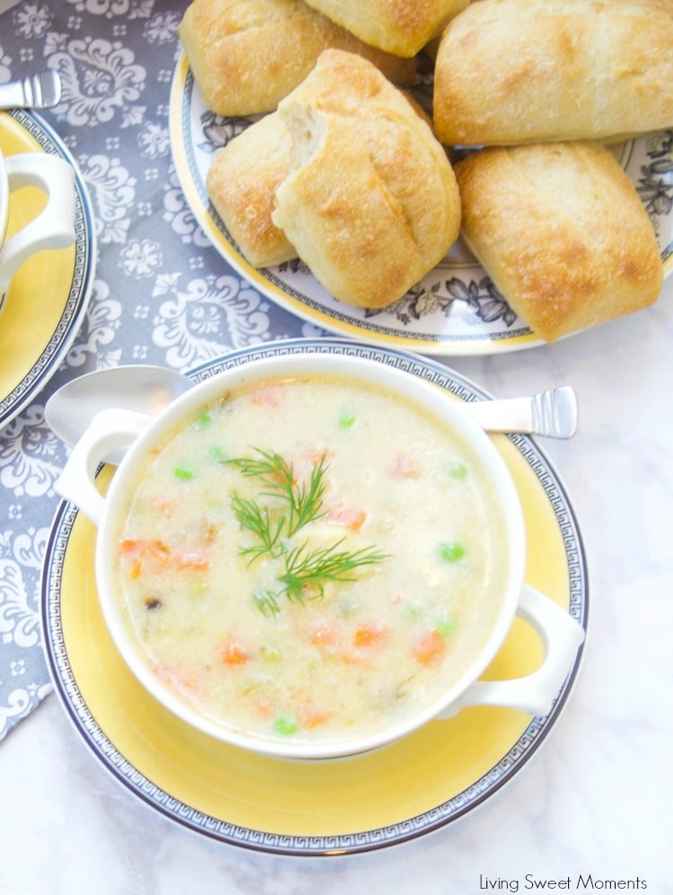 This creamy Potato Dumpling Soup recipe is the perfect hearty vegetarian soup for winter. Enjoy homemade dumplings. Bread and soup as a winter meal