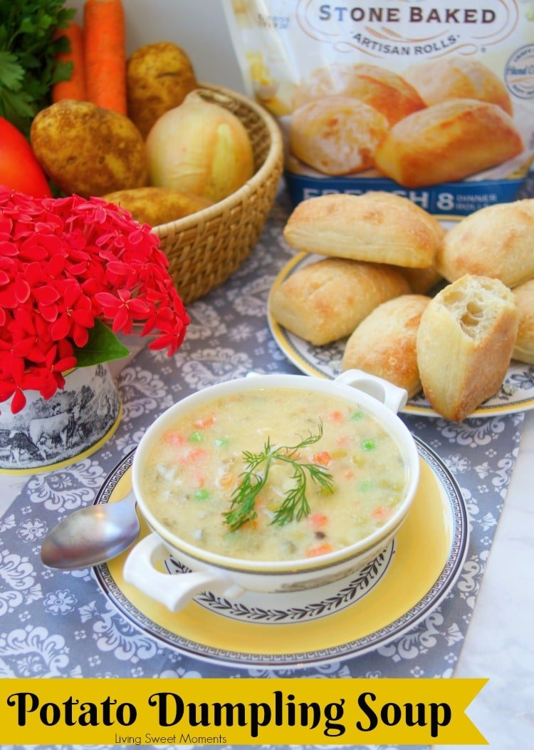 This creamy Potato Dumpling Soup recipe is the shown with fresh bread rolls