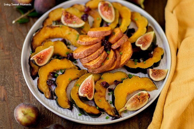 This delicate sugar Roasted Sweet Potatoes and Squash recipe requires only 5 ingredients and is the perfect Holiday side dish for autumn or fall featuring acorn squash