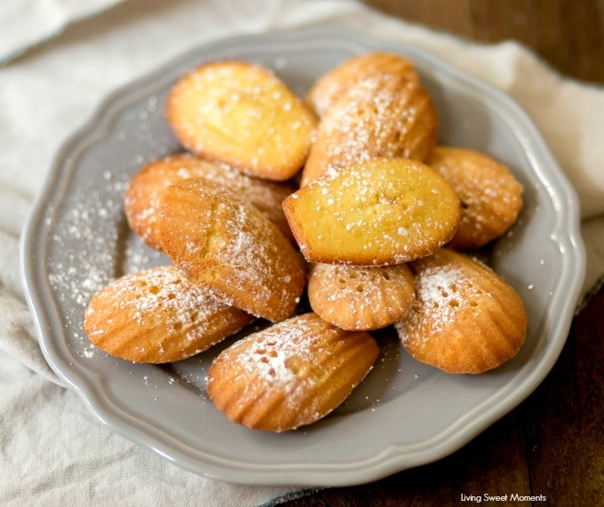 These Classic Lemon Madeleines cookies are soft, buttery, & delicious. Enjoy delicate French cookies served on a platter